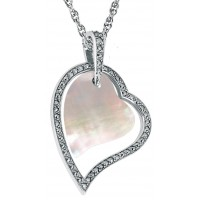PT690   Mother of Pearl and Marcasite Set Hearts Pendant on Chain Sterling Silver Ari D Norman